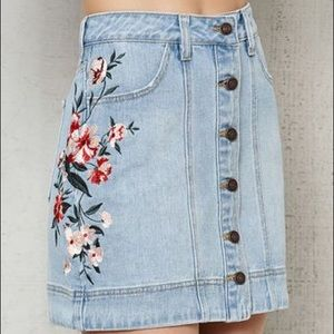 Pacsun Floral Embroidered Jean Skirt